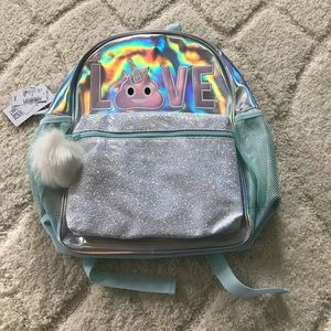 9e4ca01ed8e5 The Children s Place Accessories - Girls  LOVE  Emoji Glitter Iridescent  Backpack